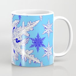 BABY BLUE SNOW CRYSTALS BLUE WINTER ART DESIGN Coffee Mug