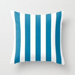 Celadon blue - solid color - white vertical lines pattern Throw Pillow