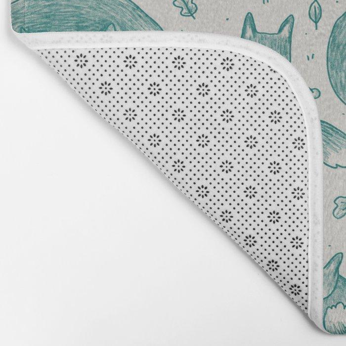 Fox Pattern Bath Mat