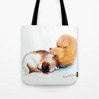 puppies Tote Bags featuring Stray puppies by AShenoi
