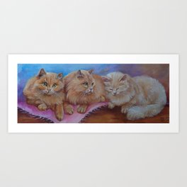 Cat Family Red Maine Coon Cat portrait Decor for Pet lover Art Print