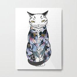 Cat in cosmic black peonies tattoo Metal Print
