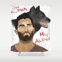 derek hale Shower Curtains featuring Derek Hale - Oh Alpha, my Alpha by LittleMagicFox