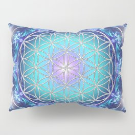 Flower Of Life Mandala Fractal turquoise Pillow Sham
