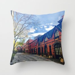 STOP For Brooklyn Heights Brownstone Red Brick Love Throw Pillow