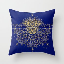 Sacred Lotus Mandala – Navy & Gold Palette Throw Pillow