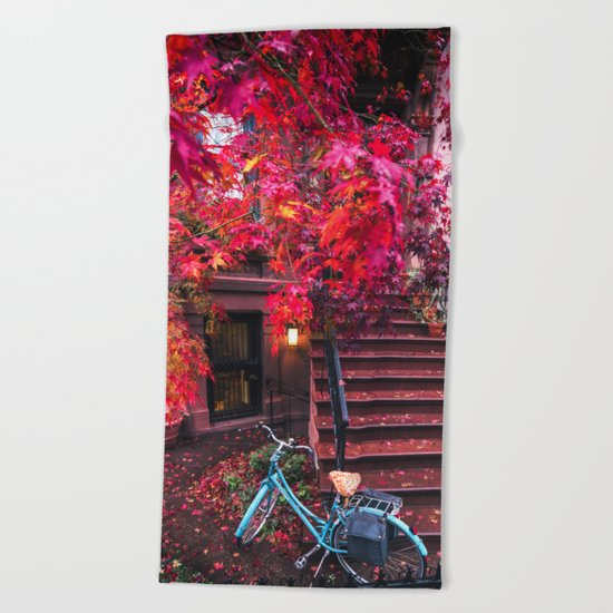 New York City Brooklyn Bicycle and Autumn Foliage Beach Towel