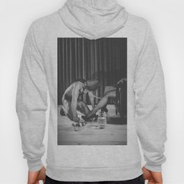 Man with masked face on his knees in front of his mistress Hoody