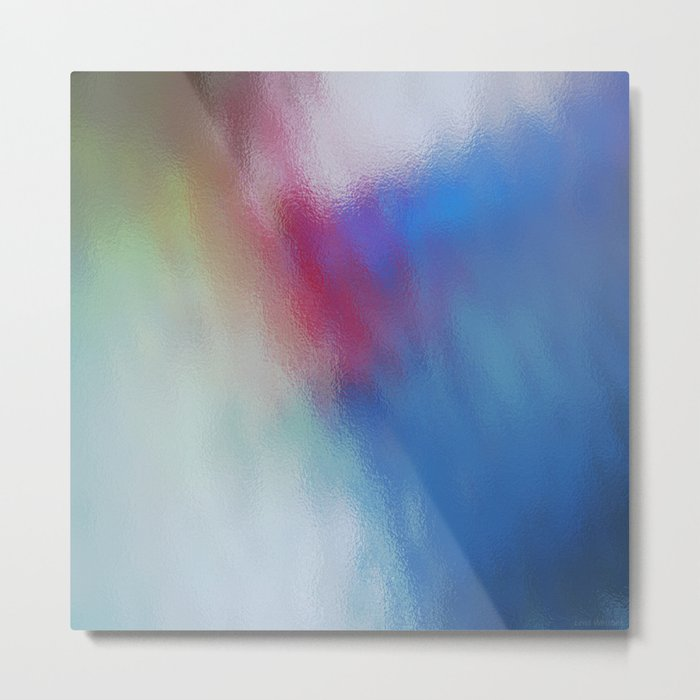 Abstract Square - Blue-Red Metal Print