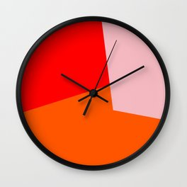 red orange pink Wall Clock