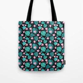 Tropical teal pink black vector floral pattern Tote Bag