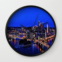 pittsburgh Wall Clocks featuring Pittsburgh Dreamer by ameliajoycelee