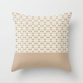 Pantone Cannoli Cream Square Petal Pattern on Pantone Hazelnut Throw Pillow