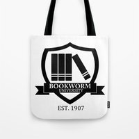 bookworm Tote Bags featuring Bookworm University by bookwormboutique