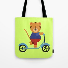 Tiger on Scooter Tote Bag