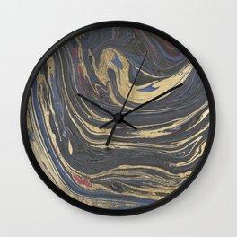 Abstract navy blue gray coral gold marble Wall Clock