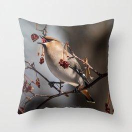 Cedar Waxwing Berry Flip Throw Pillow