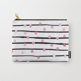 Blush pink black watercolor modern stripes polka dots Carry-All Pouch