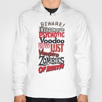 movie posters Hoodies featuring B Movie Beware by ochre7