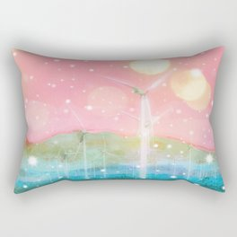 wind turbine in the desert with snow and bokeh light background Rectangular Pillow