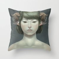 sheep Throw Pillows featuring Sheep by Lek Chan