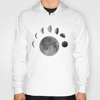 moon phases Hoodies featuring phases of the moon by Sara Eshak