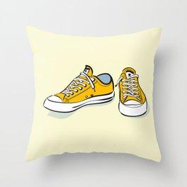 Yellow Sneakers Throw Pillow