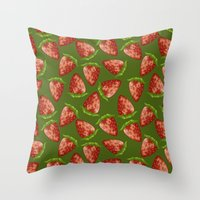 strawberry Throw Pillows featuring Strawberry by Julia Badeeva