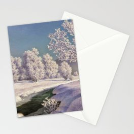 Winter Morning, After New Snow, Along the Emerald Stream by Ivan Fedorovich Choultsé Stationery Cards