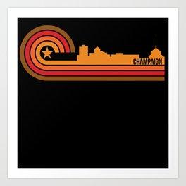 Retro Style Champaign Illinois Skyline Art Print