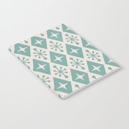 Mid Century Modern Atomic Triangle Pattern 710 Green and Beige Notebook