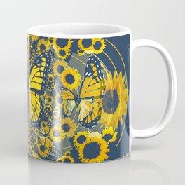 YELLOW MONARCH BUTTERFLY & GREY MODERN FLORAL ART Coffee Mug