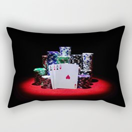 Four aces with gambling chips on red casino table Rectangular Pillow