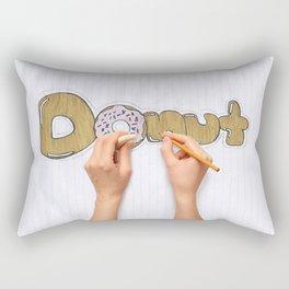 hands drawing a donut Rectangular Pillow