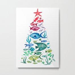 Ocean Life Christmas Tree Metal Print