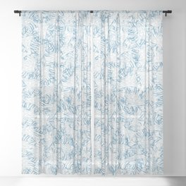 Blue Xray leaves Sheer Curtain