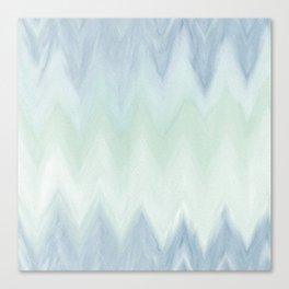 Modern geometrical pastel blue mint green watercolor ikat Canvas Print