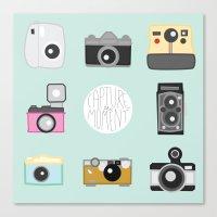 cameras Canvas Prints featuring cameras by Sarah Turbin