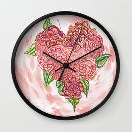 Heart of Rose Wall Clock