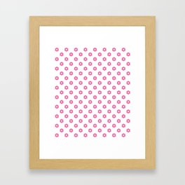 Pink polka dots - flower Case Framed Art Print