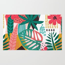 Matisse Inspired Pop Art Tropical Fun Jungle Pattern Rug