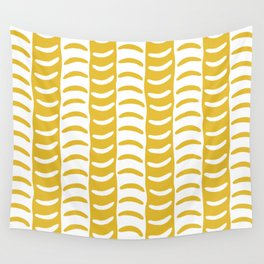 Wavy Stripes Mustard Yellow Wall Tapestry
