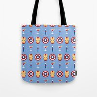 superheroes Tote Bags featuring Superheroes by Kelslk