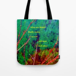 """""""The Yard #1"""" with poem Tote Bag"""