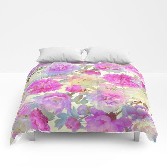 soft peonies Comforters