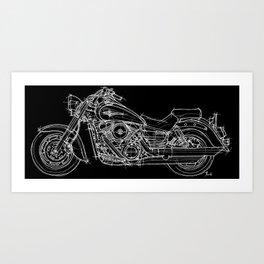 Vulcan 1600 original handmade drawing, gift for bikers Art Print