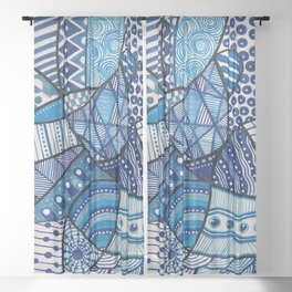 Doodly Do (in blue) Sheer Curtain