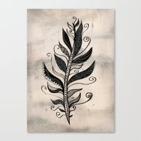 feather Canvas Prints featuring FEATHER by Nika