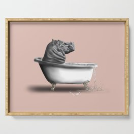 Hippo in Bath Serving Tray