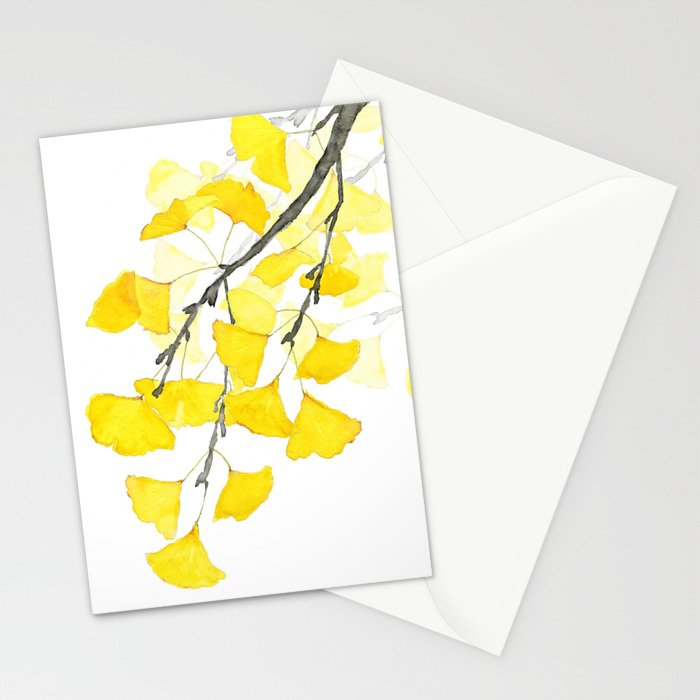 Golden Ginkgo Leaves Stationery Cards